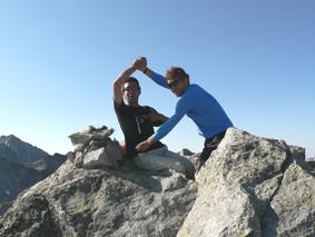 David Riera y su amigo Pepe en el Pico del Alba (3.118 m)