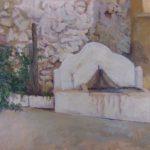 ABREVADERO EN LA CALLE DEL CHORRO. ÓLEO SOBRE TABLA 55 X 42 cm
