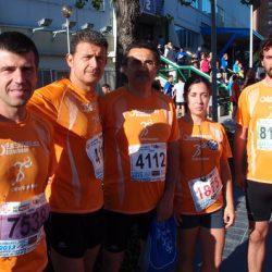 Componentes del equipo antes del comienzo de la carrera