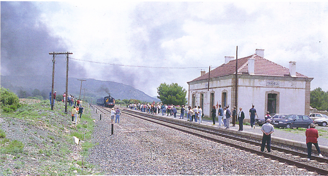 El tren llega a la estación de Torás. Fotografía de M. Aroca
