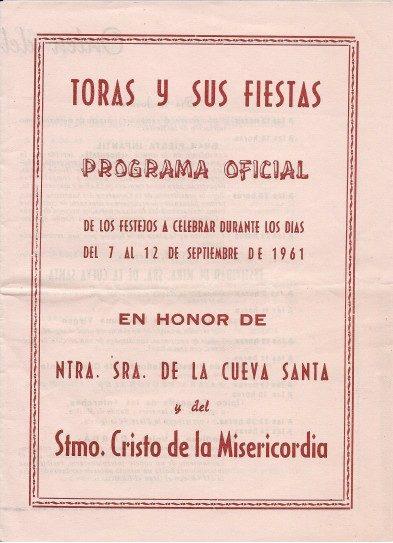 Libro de Fiestas Torás - 1961