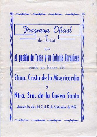 Libro Fiestas Torás - 1962