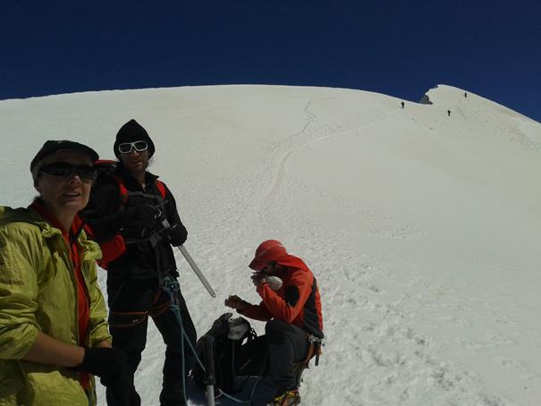 Llegando al Breithorn (Pico ancho en alemán) Central, 4160 m
