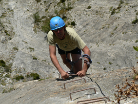 David Riera en la Vïa Ferrata de Benasque