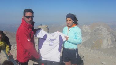 Marta y David Riera en el Monte Perdido (3.355 m), Pirineo de Huesca. 10 de agosto de 2012