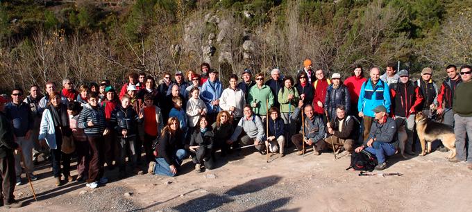 Parte de los 70 participantes en la excursión al Barranco del Resinero